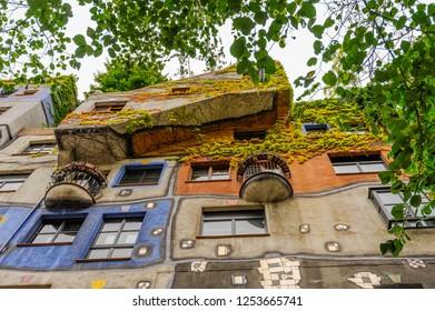 VIENNA, AUSTRIA - JUN 09, 2012 : Hundertwasser Haus in Vienna, Austria. Colorful decorated exterior of an apartment house in the city center of Vienna.