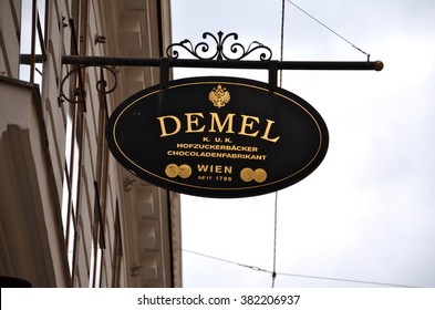 VIENNA, AUSTRIA - JUN 23, 2013: Demel  is a famous pastry shop and chocolaterie established in 1786 in Vienna, Austria. The company bears the title of a Purveyor to the Imperial and Royal Court