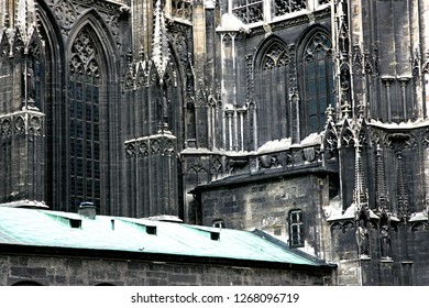 VIENNA, AUSTRIA - JUN 26, 2007 : Stephan cathedral in Vienna, Wall fragment with windows