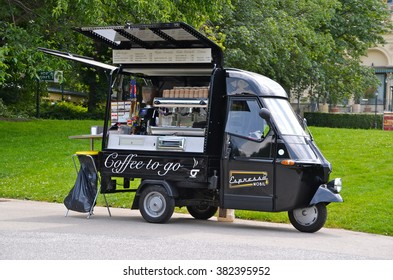 VIENNA, AUSTRIA - JUN 28, 2013: Mobile Coffee Bar in Stadtpak, VIenna Austria