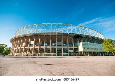VIENNA, AUSTRIA - JUNE 05, 2017: The outside of Ernst Happel Stadium on blue sky background