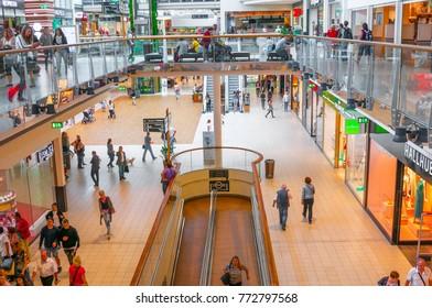 VIENNA, AUSTRIA - JUNE 07, 2017: Interior of Danube Center shopping mall (Donau Zentrum)