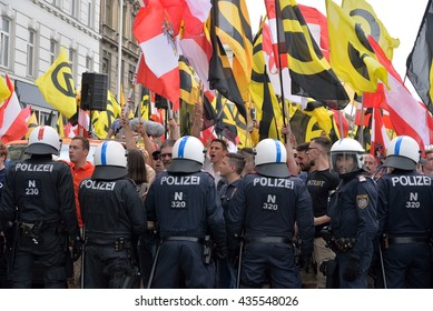 Vienna, Austria - June 11, 2016: Chain of special forces of the Austrian police against demonstrators of the identitarian movement at a demonstration in Vienna