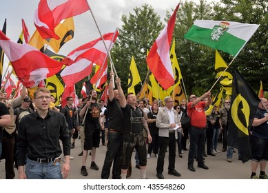 Vienna, Austria - June 11, 2016: Demonstrators waving with flags at demonstration of the Austrian Identitarian Movement in Vienna.