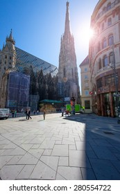 Vienna, Austria, June 12, 2013: St. Stephen's Cathedral and the eponymous square, lens flare effect