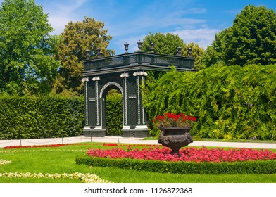 VIENNA, AUSTRIA - JUNE 12, 2018: Blooming flowerbed in the park of Schonbrunn Palace