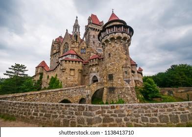 VIENNA, AUSTRIA - JUNE 13, 2018: The medieval Kreuzenstein castle in Leobendorf village near Vienna