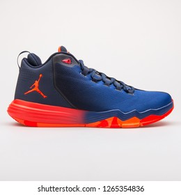 VIENNA, AUSTRIA - JUNE 14, 2017: Nike Jordan CP3 IX AE infrared and blue sneaker isolated on grey background