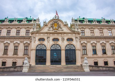 VIENNA, AUSTRIA - JUNE 14, 2018 : View of the Belvedere Museum Palace in Vienna.