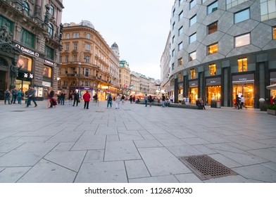 VIENNA, AUSTRIA - JUNE 15, 2018: Graben Street and detail of Haas House in old town