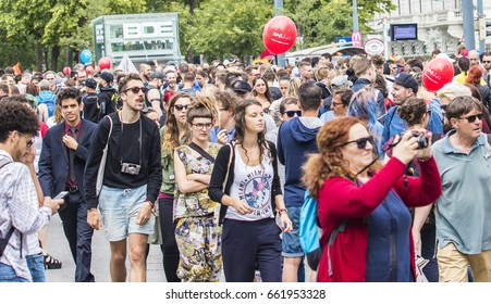 Vienna, Austria - June 17, 2017: Lesbian, gay and transgender people celebrate their event on the Ringstrasse of Vienna for solidarity, acceptance and equality.