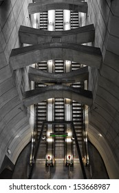 VIENNA, AUSTRIA - JUNE 17: Escalators from metro line U2 to line U4 at station Schottenring shown on 17 June 2011 in Vienna.