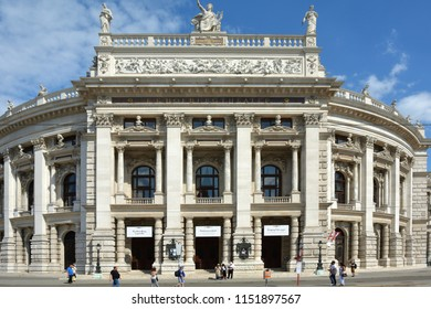 Vienna, Austria - June 18, 2018: The Burgtheater at the Ringstrasse in Vienna with main entrance is the Austrian National Theatre - Austria.