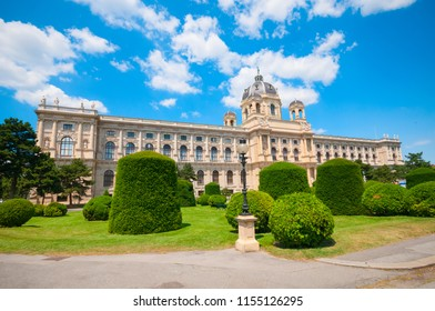 VIENNA, AUSTRIA - JUNE 18, 2018: View of famous Natural History Museum with park on Maria Theresien Platz