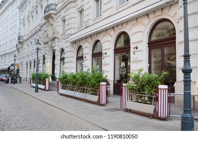 VIENNA, AUSTRIA - JUNE 18, 2018: Beautiful building of cafe KLIMT on city street