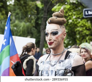 Vienna, Austria - June 20, 2015: Lesbian, gay and transgender people celebrate their event on the Ringstrasse of Vienna for solidarity, acceptance and equality.