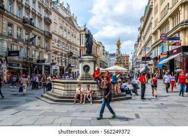 VIENNA, AUSTRIA, JUNE 2016. Tourists are walking through the Graben Street in Vienna.