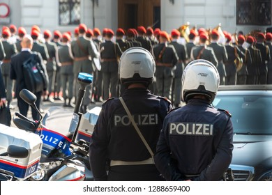 Vienna/ Austria June 2018: Police at official Reception in Hofburg in Vienna