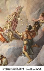 Vienna Austria - June 2018 - Wall painting in a Catholic Church