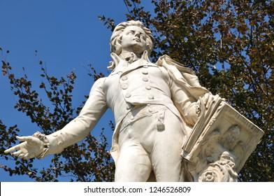 VIENNA, AUSTRIA - JUNE, 2018: Wolfgang Amadeus Mozart's monument (1896) in Burggarten near Ringstrasse in Vienna