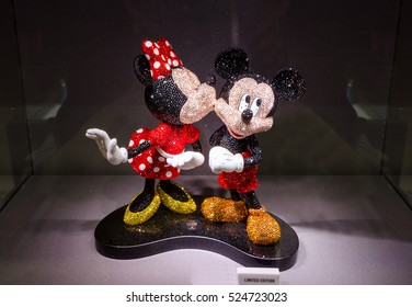 VIENNA, AUSTRIA - JUNE 23:  mickey and minnie in the shop of the Swarovski jewelry in Vienna on June 23, 2016.