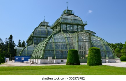 VIENNA, AUSTRIA - JUNE 23: The Palm House in Schonbrunn Palace on June 23, 2013 in Vienna. The Palm House consists of three pailions for different climatic zones