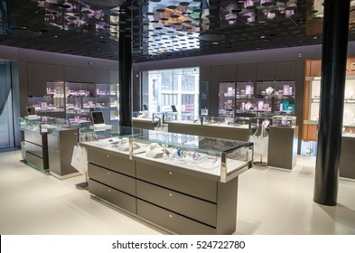 VIENNA, AUSTRIA - JUNE 23: Shop of the Swarovski jewelry in Vienna on June 23, 2016.