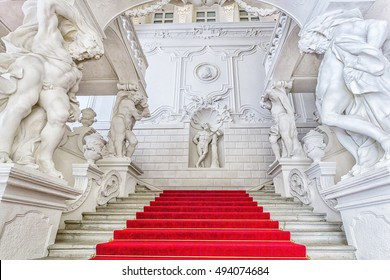VIENNA, AUSTRIA - JUNE 25, 2016: Grand staircase  of Winter Palace (Stadtpalais) of Prince Eugene Savoy - is an important high baroque palace in Vienna. It was constructed 1695 - 1724.