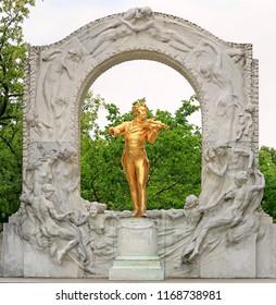 VIENNA, AUSTRIA - JUNE 25, 2018: Monument of the composer Johann Strauss II, 1825-1899, Stadtpark municipal park in Vienna