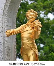 VIENNA, AUSTRIA - JUNE 25, 2018: Monument of the composer Johann Strauss II, 1825-1899, Stadtpark municipal park, Vienna