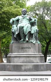 Vienna, Austria - JUNE 26 2007. Statue of Goethe (Johann Wolfgang von Goethe) German writer and poet, summerday