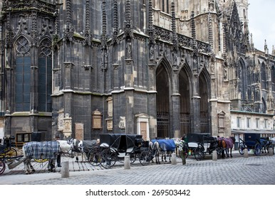 Vienna, Austria, June 26, 2013: horse-drawn carriages near the walls of St. Stephen's Cathedral