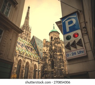 Vienna, Austria, June 26, 2013: Cityscape with parking near St. Stephen's Cathedral. instagram image retro style