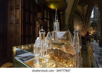 VIENNA, AUSTRIA - JUNE 27, 2015: Interior St. Stephen's Cathedral. The Cathedral is one of the main tourist attractions in Vienna.