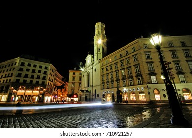 Vienna, Austria - June 27, 2017 - St. Michael's Church (Michaelerkirche), the church dedicated to Archangel Michael at Michaelerplatz (St. Michael's Square) across from St. Michael's Gate of Hofburg