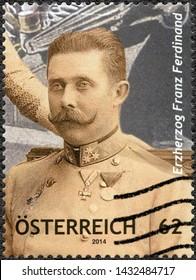 VIENNA, AUSTRIA - JUNE 28, 2014: A stamp printed in Austria shows Erzherzog Franz Ferdinand (1863-1914), 2014