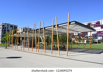 "VIENNA, AUSTRIA - JUNE 30, 2018: Canopy at ""Rudolf-Bednar-Park"", a park in the 2nd district (Leopoldstadt) of Vienna. A modern residential neighborhood."