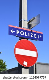 VIENNA, AUSTRIA - JUNE 30, 2018: Sign showing the direction of police station at Praterstern in Vienna