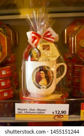 VIENNA, AUSTRIA - June 30, 2019: Souvenir cup with the image Sissi and austrian chocolate for sale in Vienna