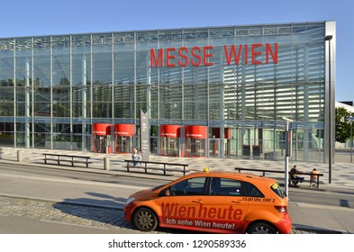 Vienna, Austria - June 4, 2014: Taxi cab outside Messe Wien - Exhibition and Congress Center - modern venue located in Leopoldstadt district of Vienna Austria Europe.