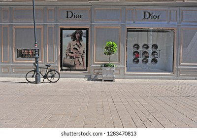 VIENNA, AUSTRIA - JUNE 6, 2016: Facade of Christian Dior flagship store in the street of Vienna of June 6, 2016. Christian Dior is a world famous french luxury company founded in 1946.