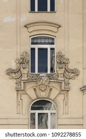 VIENNA / AUSTRIA - JUNE 6th, 2014: Architectural detail on the facade of an old building