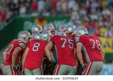 VIENNA, AUSTRIA - JUNE 7, 2014: Team Austria in the huddle during the final game against Germany.