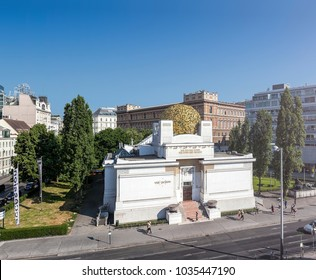 VIENNA, AUSTRIA - JUNE 8, 2015: Some people at a sunny day in front of the Secession Building Vienna. It is an Exhibition Hall for Contemporary Art and was built in 1897 by Joseph Maria Olbrich.