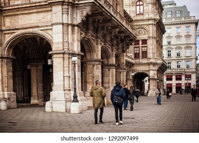 Vienna, Austria-- March 07, 2018: Vienna 's State Opera House. street with people