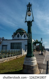 Vienna, Austria - March 11, 2018: OTTO WAGNER HOFPAVILLON HIETZING, the Imperial Court Pavilion at Hietzing station. A striking feature of Vienna's cityscape to this day