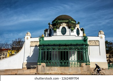 Vienna, Austria - March 11, 2018: OTTO WAGNER HOFPAVILLON HIETZING, the Imperial Court Pavilion at Hietzing station. A striking feature of Vienna's cityscape to this day.