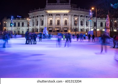 VIENNA, AUSTRIA - March 12, 2017: Vienna Ice Dream Skating rink is held at the City Hall Square opposite of the Burgtheater during 25th of January -12th of March 2017.