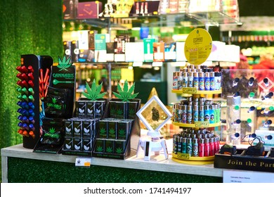 Vienna, Austria- March 12, 2020: Showcase of an ?BD store that sells marijuana products in the city.