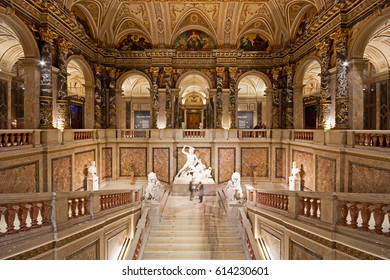 VIENNA, AUSTRIA - MARCH 15, 2017: Sumptuous staircase with the Theseus sculpture in the interior of the Kunsthistorisches Museum in Vienna, Austria, during the Ganymed event.